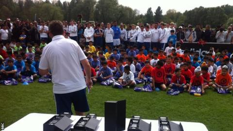 Asian players during the Chelsea Asian Star day at the Premier League side's Cobham training ground