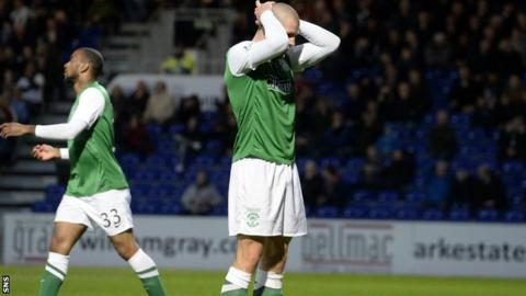 Hibs players are left dejected