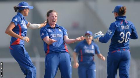 Anya Shrubsole celebrates with England