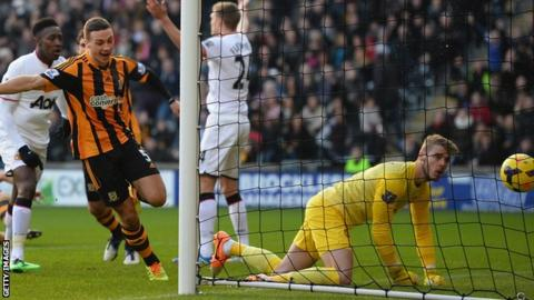 James Chester of Hull City celebrates scoring against Manchester United