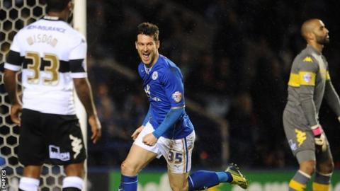 David Nugent celebrates scoring for Leicester against Derby County