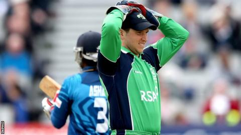 Gary Wilson shows his frustration during the Sri Lankan inning at Clontarf on Tuesday