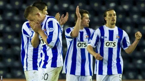 Kilmarnock players celebrate their victory over St Mirren