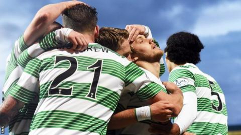 Celtic players celebrate Teemu Pukki's goal in the 3-3 with St Johnstone