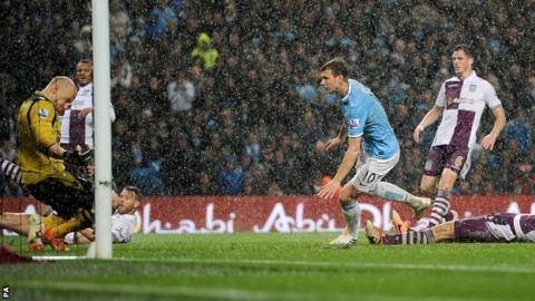 Edin Dzeko gives Manchester City the lead