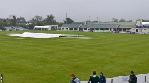 The covers are on at Clontarf with no play possible in Thursday's ODI