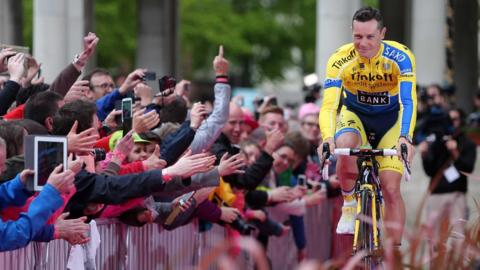 Irish rider Nicolas Roche, whose father Stephen won the race 26 years ago, is introduced to the fans in Belfast