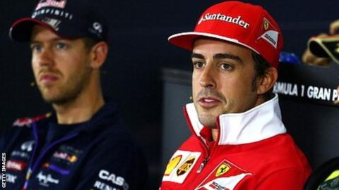 Fernando Alonso (right) and Sebastian Vettel