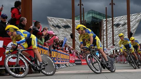 Tinkoff-Saxo's Nicolas Roche leads his team as the Giro d'Italia starts at the Titanic Quarter in Belfast with the 21.7 km team time trial