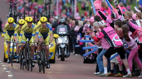 Team Tinkoff-Saxo competitors make their way through the Stormont Estate during Friday's team time trial