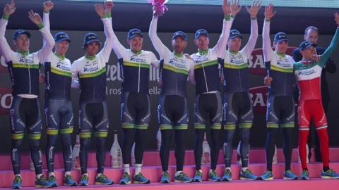 Oreca Greenedge from Australia won the team time trial on the first day of the 2014 Giro d'Italia