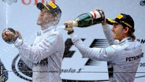 Lewis Hamilton (left) with team-mate Nico Rosberg