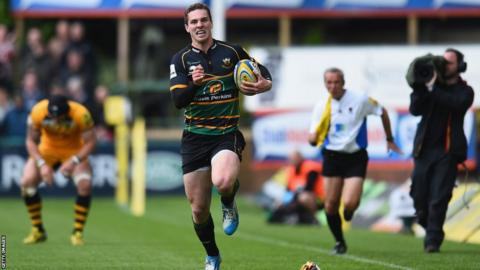 Wales wing George North breaks to score one of two tries during Northampton Saints' 74-13 thrashing of London Wasps in the Aviva Premiership.