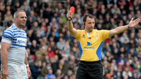Justin Melck is sent off by referee Greg Garner