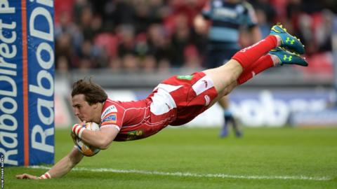 Rhodri Williams goes over for Scarlets in the Pro12 against Cardiff Blues in Llanelli