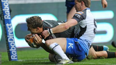 Ashley Beck goes over for Ospreys at Liberty Stadium