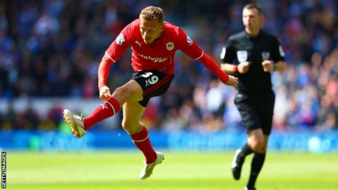 Craig Bellamy fires left-footed to give Cardiff City the lead against Chelsea