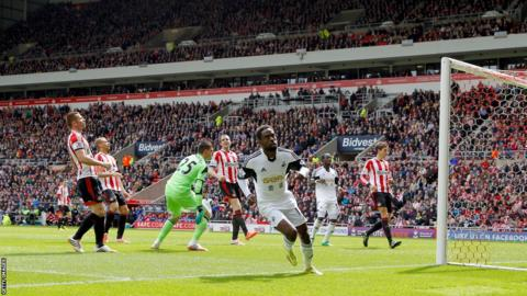 Swansea City winger Nathan Dyer gets ready to celebrate after giving his side a seventh minute lead away to Sunderland in their last game of the Premier League season.