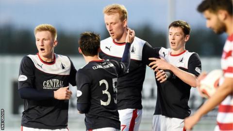 Mark Beck (centre) scored the equaliser for Falkirk