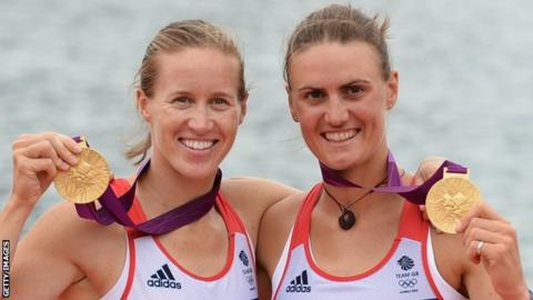 Britain's Helen Glover (left) and Heather Stanning (right) with their gold medals at the London Olympics 2012