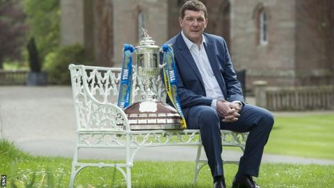 St Johnstone manager Tommy Wright with the Scottish Cup trophy