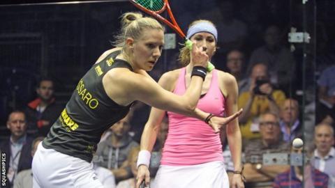 Laura Massaro playing against Sarah Kippax