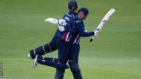 Graeme White and Ben Duckett of Northamptonshire celebrates winning the Natwest T20 Blast match between Yorkshire Vikings and Northants Steelbacks at Headingley