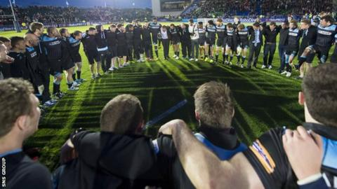 Glasgow celebrate their semi-final win over Munster