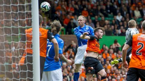Steven Anderson heads St Johnstone ahead against Dundee United