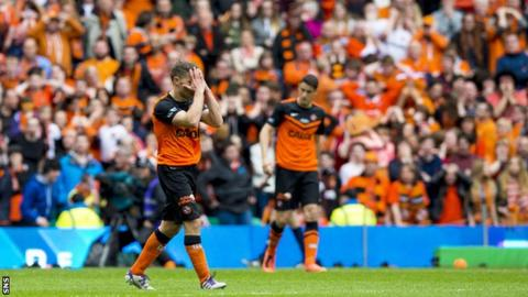 Dundee United players looks dejected