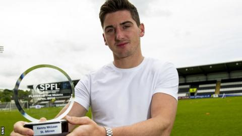 Kenny McLean with his monthly award