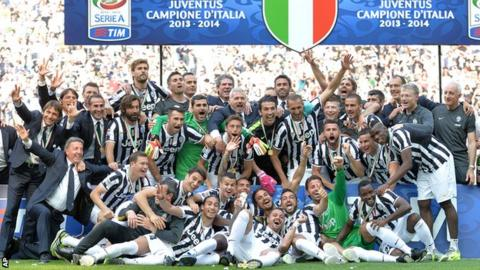 Juventus players celebrated a 30th league title and the third in succession
