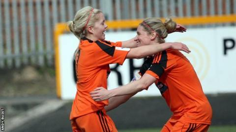 Denise O'Sullivan and Leanne Ross celebrate City win