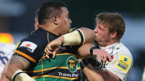 Salesi Ma'afu of Northampton Saints (left) and Leicester's Tom Youngs