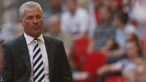 Gateshead manager Gary Mills looks on after defeat by Cambridge United at Wembley