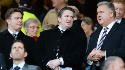 Rangers directors James Easdale and Sandy Easdale with chief executive Graham Wallace