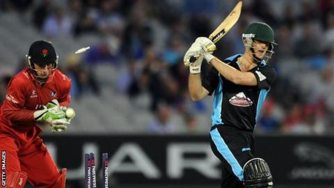 Richard Oliver, on his second Worcestershire T20 appearance, against Lancashire at Old Trafford