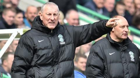Hibernian manager Terry Butcher and his assistant Maurice Malpas