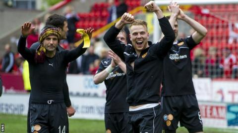 Motherwell players celebrating