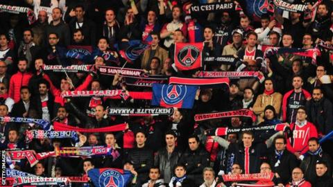 PSG fans during the Uefa Champions League quarter-final game against Chelsea