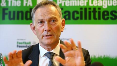 Premier League Chief Executive Richard Scudamore addresses the media during the Premier League and the FA Facilities Fund Launch at The London Nautical School.
