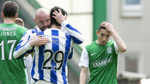 Kilmarnock and Hibernian players