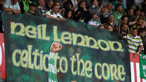 A Neil Lennon banner at Ibrox