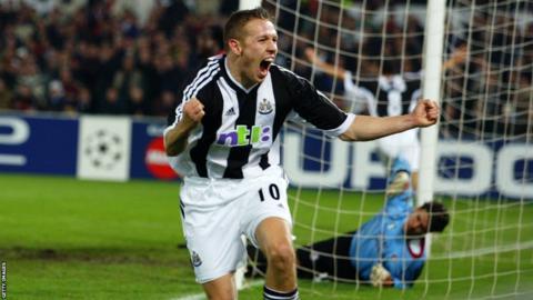 Bellamy celebrates scoring for Newcastle United in the Champions League 2002/03 season