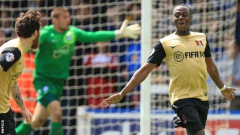 Moses Odubajo celebrates his goal against Peterborough