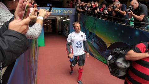 Jonny Wilkinson emerges from the Millennium Stadium tunnel ahead of Toulon's final training session before the Heineken Cup final – the penultimate game of the Englishman's career.