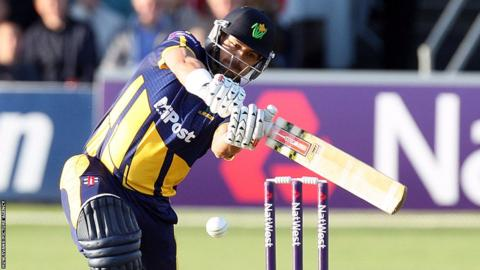 Jacques Rudolph hits a boundary for Glamorgan in their T20 Blast match against Essex in Chelmsford.
