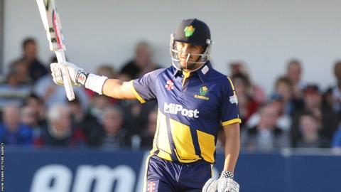 Jacques Rudolph celebrates reaching his half century as Glamorgan make 189-6 in their T20 Blast match against Essex.