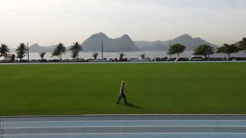 The training pitch at England's world cup base - Urca military base (Forte de Urca)