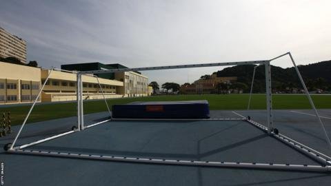 Goal posts on the training ground at England's world cup base, Urca military base (Forte de Urca)
